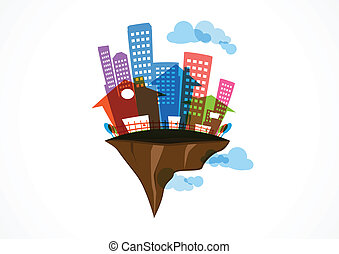 Flying Island real estate, Future - Vector Illustration of...