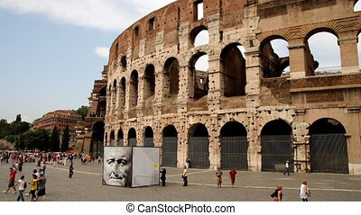 timelapse of the famous colosseum in rome, italy