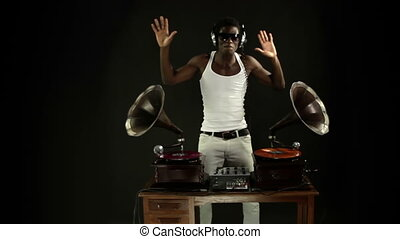 super cool guy djs with retro gramophones. original concept clip