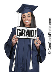 Graduate - Young black african American woman in her...