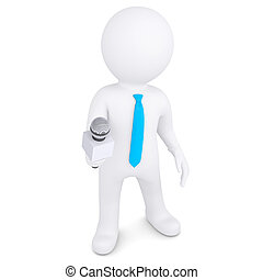 3d white man with a microphone. Isolated render on a white...