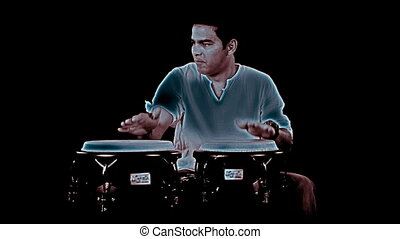 congo drummer performing. CLIP INCLUDES HIGH QUALITY AUDIO