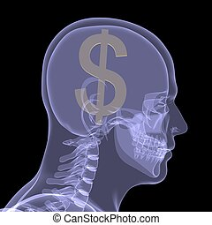 Gold dollar in head X-ray render isolated on a black...