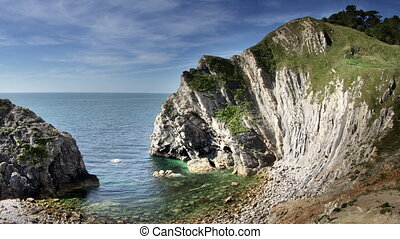 timelapse of the stunning and dramatic coastline at lulworth...