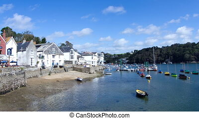 timelapse of the picturesque harbour village of fowey on the...