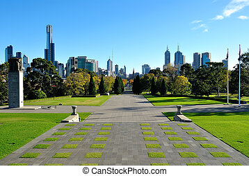 View of Melbourne from the Shrine of Remembrance - View of...