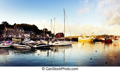 timelapse of the picturesque harbour village of padstow on...