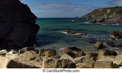 the stunning coastline at lulworth cove on the cornwall...