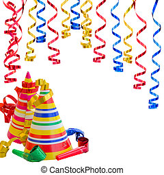 Hats and Serpentine for birthday party isolated on white...