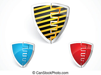 Warning shield merge with yellow st - Vector Illustration Of...