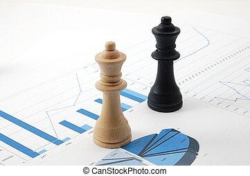sopra, uomo, grafico, affari, scacchi