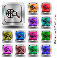 World web search aluminum glossy icons, crazy colors -...