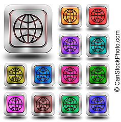 World aluminum glossy icons, crazy colors - aluminum, steel,...