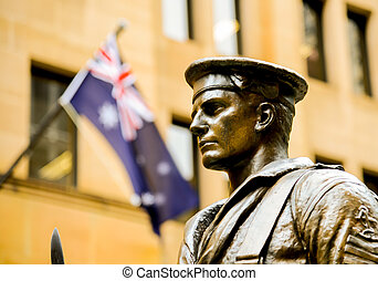 Steel soldier statue with Australia flag
