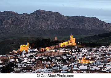 Andalusian town Antequera at dusk, Spain
