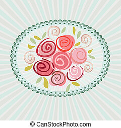 Gift card with roses flowers Vector eps10 floral...