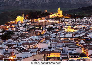 Andalusian town Antequera at night, Spain