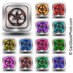 Recycle aluminum glossy icons, crazy colors - aluminum,...