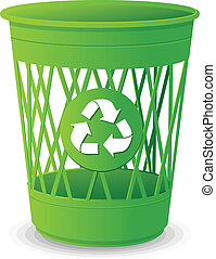Vector plastic basket set, trash bins on white