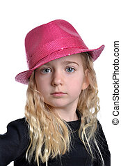Dress Up - little girl with pink fashion hat white...