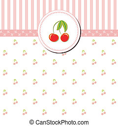Colorful Cherry Gretting Card on Stripe Background