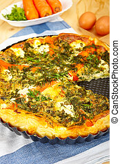 Vegetarian quiche - Savory vegetable quiche with carrot,...