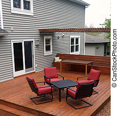Backyard Deck - Backyard deck with furniture.
