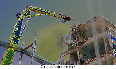 a crane breaking down a building, looking a bit like like a dinosaur eating!