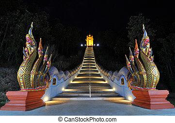 Night Naga stairs - Naga stairs at Wat DoiSuppunyoo, MaeWang...