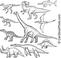 set of different dinosaurs - hand drawn, sketch illustration...