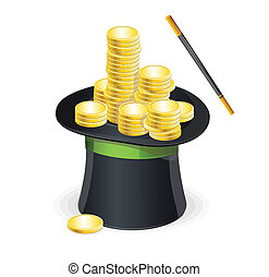 Magic hat vector and gold coins