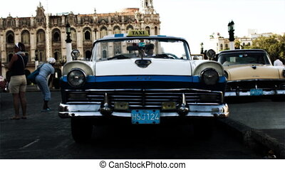 a cool sequence made from different classic cars in havana,...