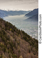 Rhone valley and Martigny town - Switzerland. - Aerial view...