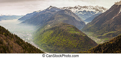 Panoramic view on Rhone valley - Switzerland. In background...