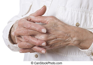 Senior woman's hands isolated on white
