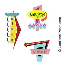 retro outdoor signs - diner and restaurant signs in retro...