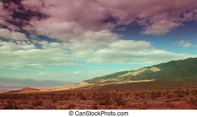 view of a mountain range in death valley, california, with...