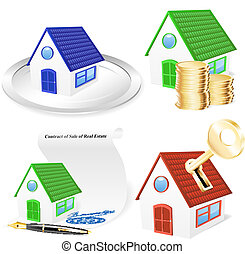 3D Real Estate Business Icon Set - EPS10, gradient meshes