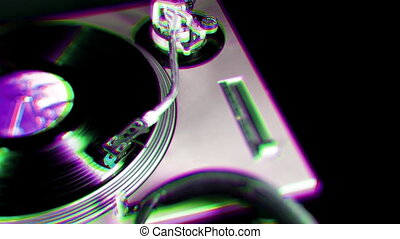 a pan across dj turntables