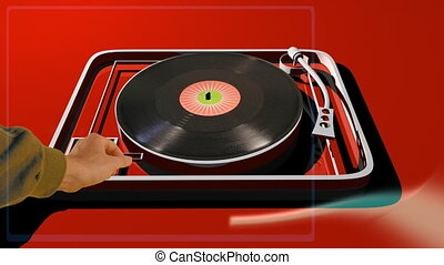 mix of 3d turntable with filmed record and hand