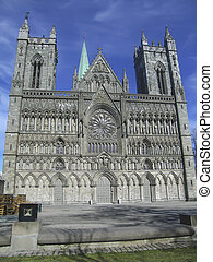 Nidaros, Trondheim - The facade of the Nidaros Cathedral in...