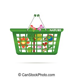 nature basket with butterfly vector illustration