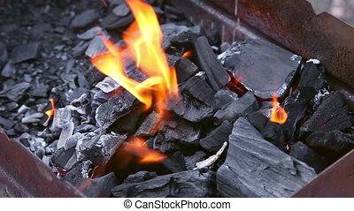 Brazier - Coals burning in the brazier for barbecue