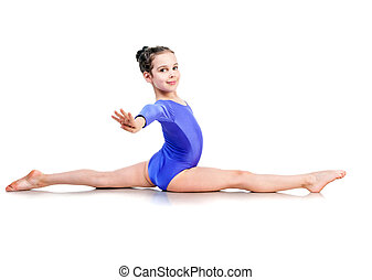 little girl sits on a splits isolated over white background