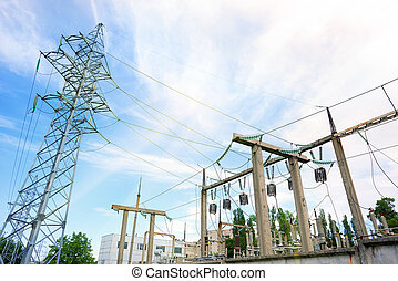 Voltage power lines against the blue sky