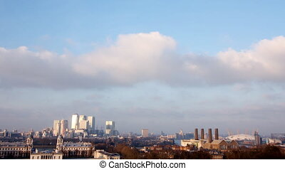 view of london docklands from greenwich park