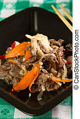 Stirfry beef with vegetables and spices