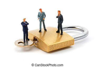 business man on security padlock - business man on secure...