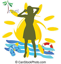 travel girl with mobil phone vector illustration
