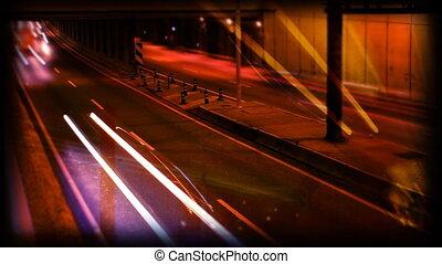 rush of night time traffic on motorway in timelapse scene,...